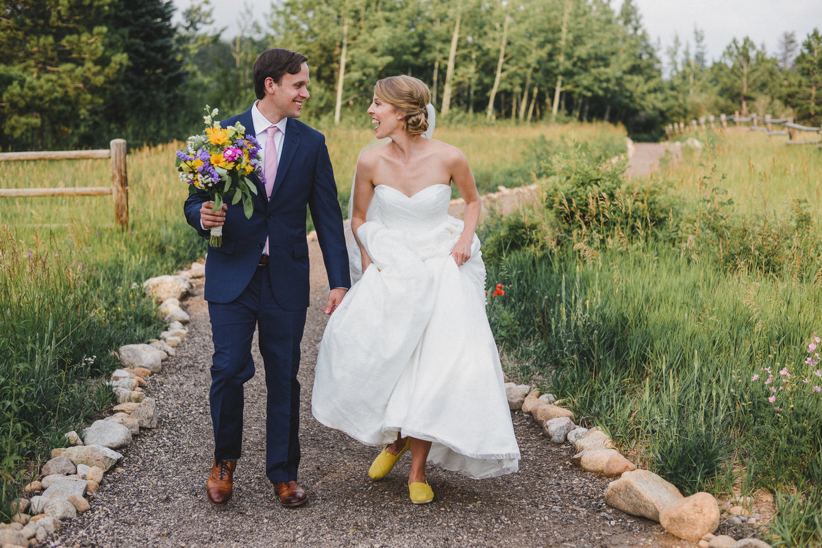 colorful wedding day with yellow theme