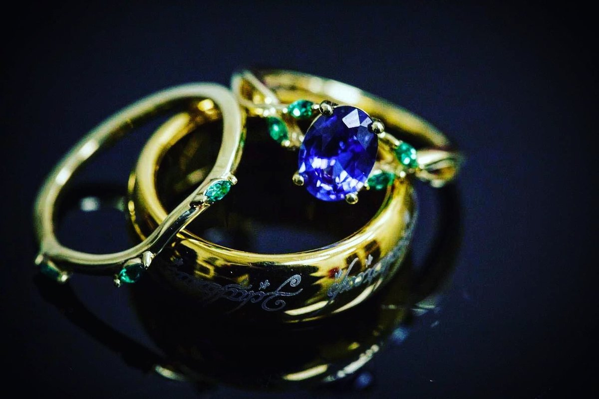 Offbeat rings include vibrant blue engagement ring, and Lord of the Rings inscribed groom wedding band