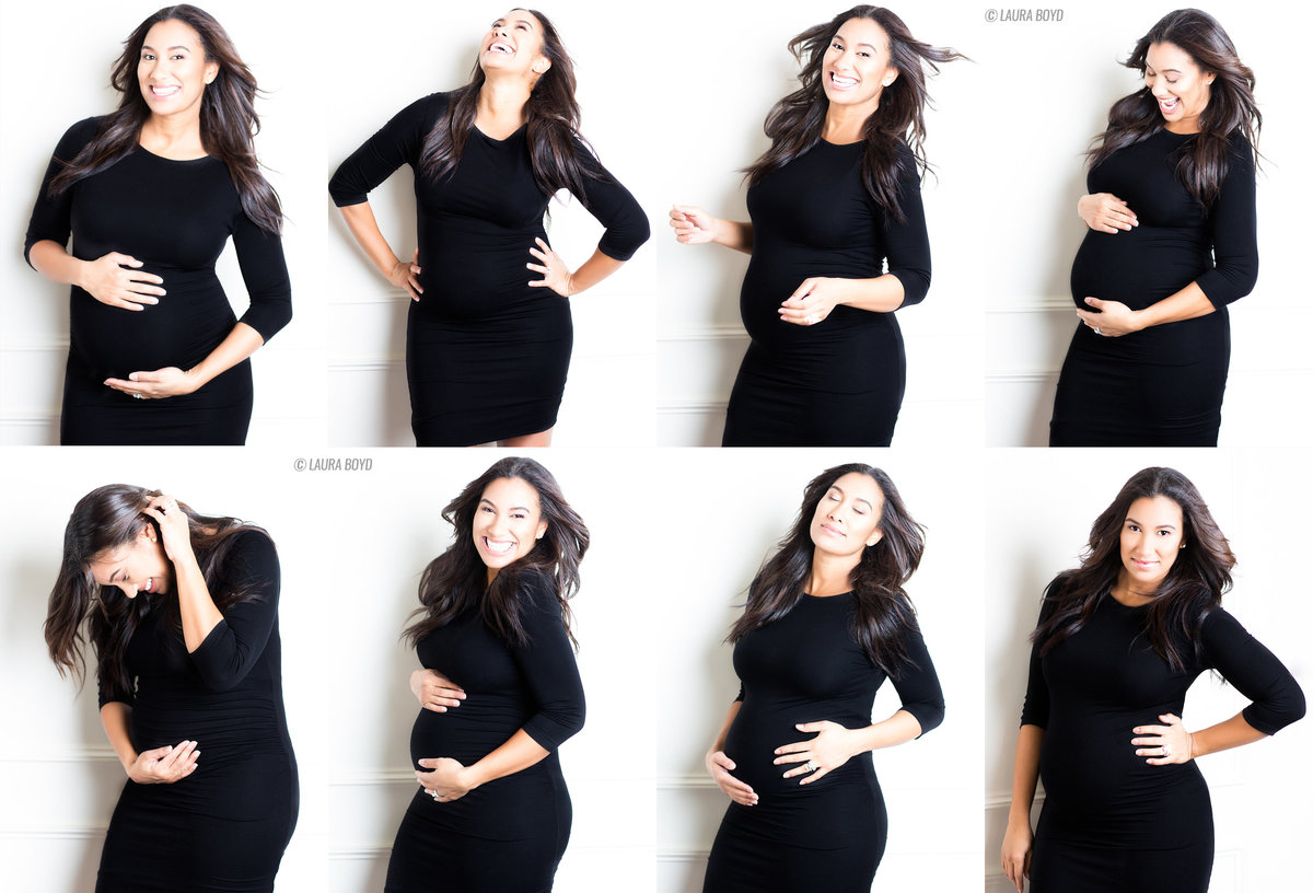maternity portraits in a little black dress