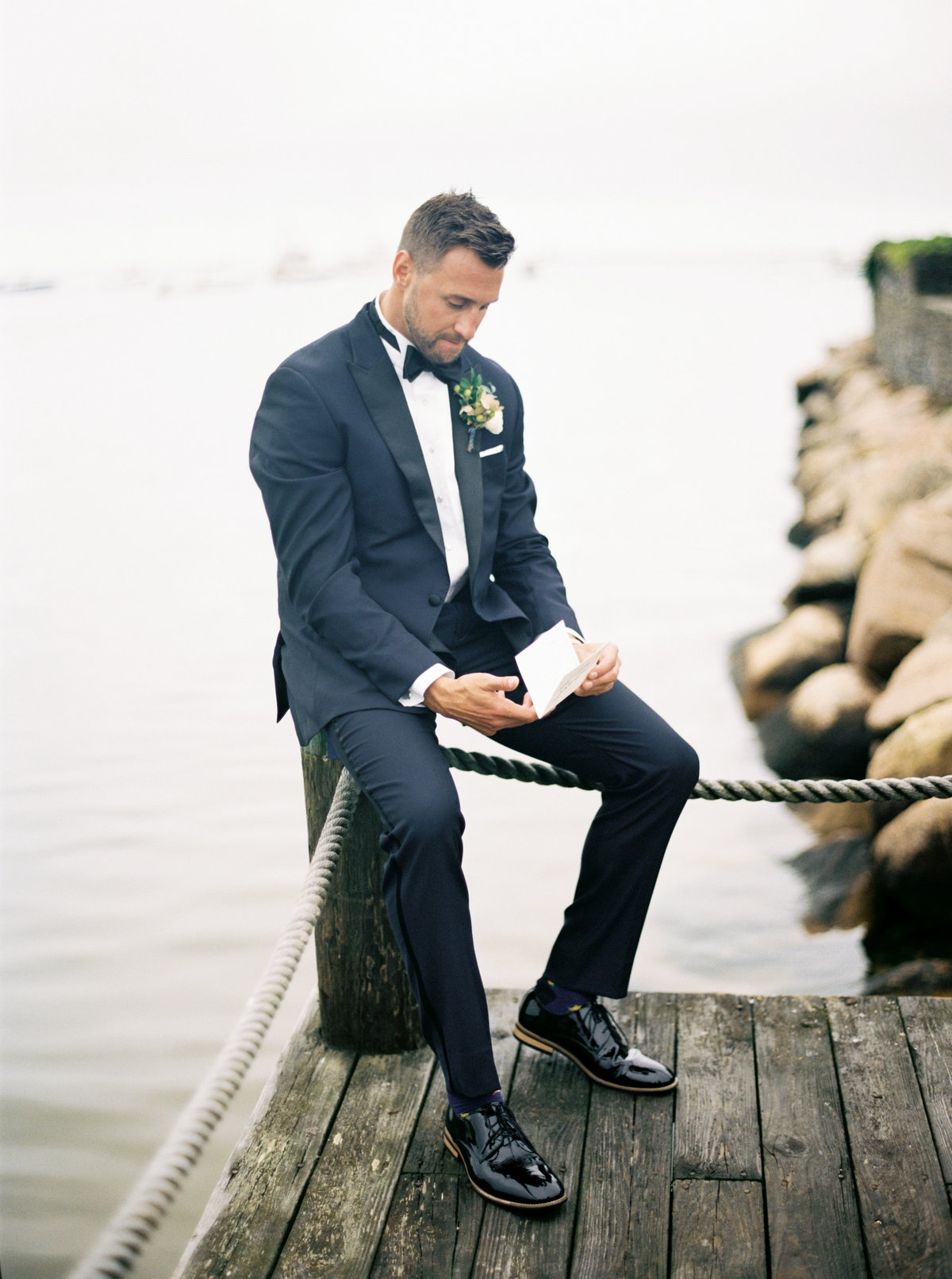 Groom first look photo for Cape Cod wedding weekend by top destination wedding planner Always Yours Events