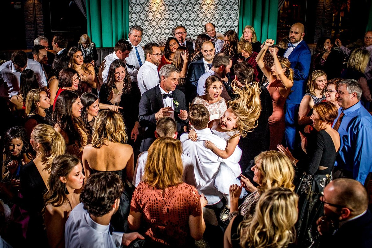 Guests dance together at a Boarding House wedding in Chicago.