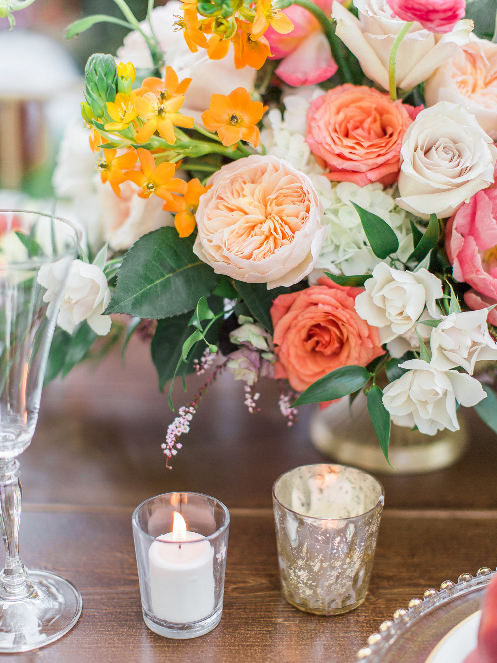 Whimsical Summer Wedding Styled Shoot at Henderson Castle Featured in WeddingDay Magazine Flower Arrangement Table