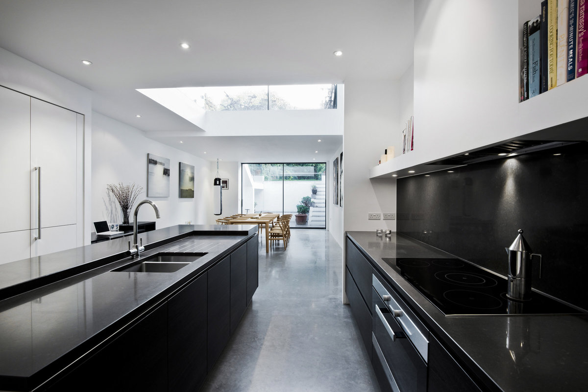 monochrome black kitchen interior