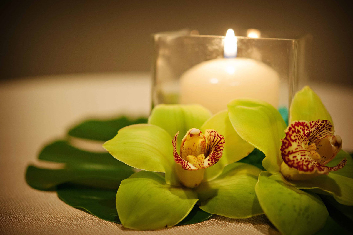 centerpiece with candles and green cymbidium orchids