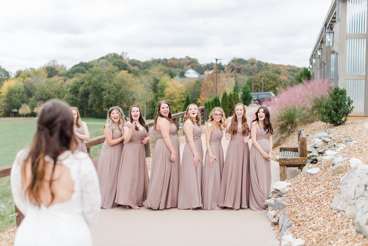 Spring Athens wedding day bride reveal to bridesmaids