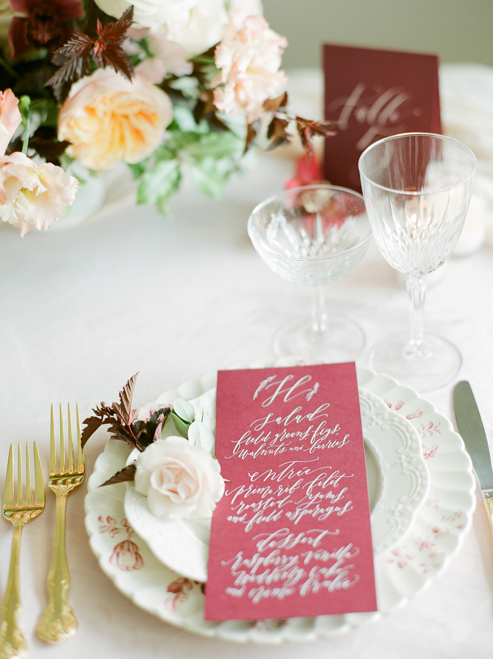 Burgundy and Blush Wedding Inspiration Styled Shoot Menu Calligraphy