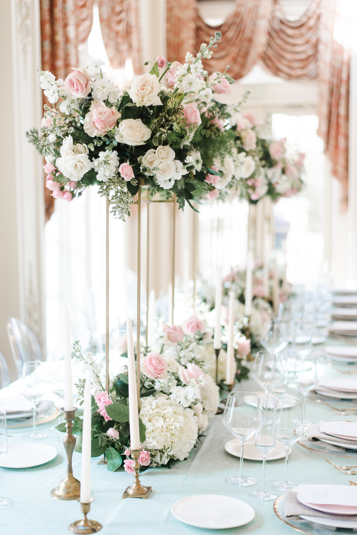 Flowers at a bridal table