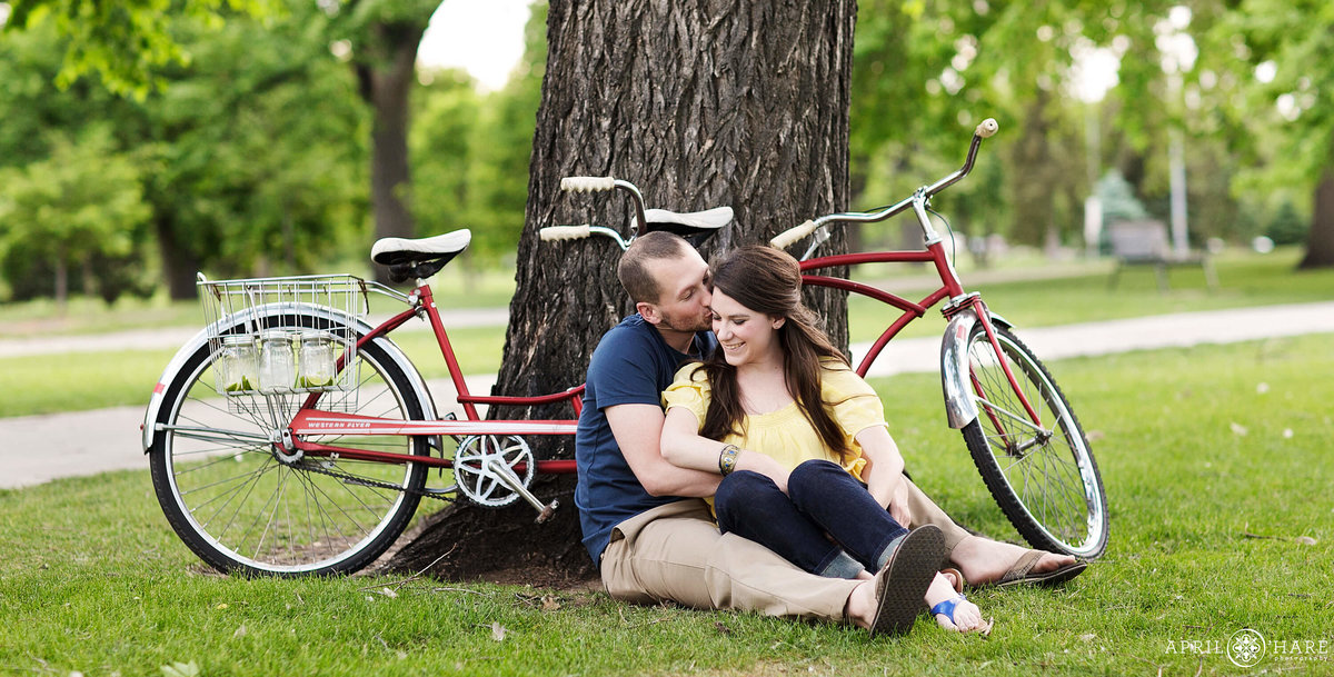 City Park Engagement Photography with Tandem Bike  in Denver Colorado