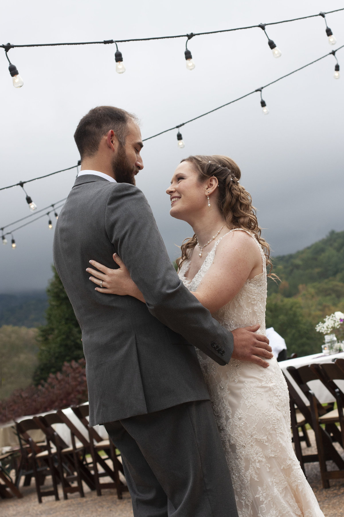 Bride and Groom first dance  blue ridge mountains outdoors