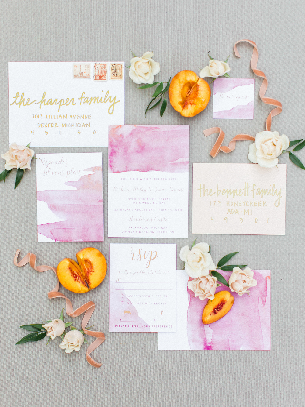 Whimsical Summer Wedding Styled Shoot at Henderson Castle Featured in WeddingDay Magazine Stationery
