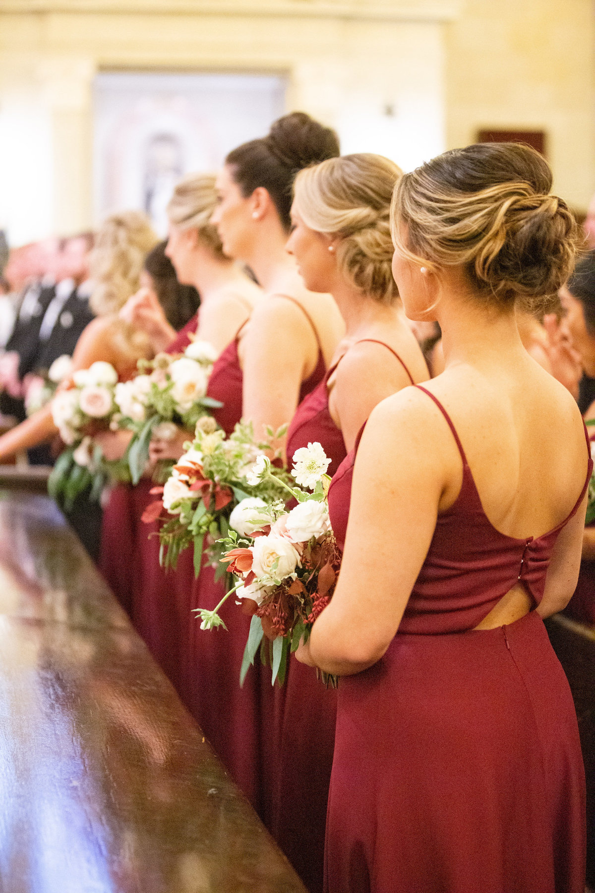 bridesmaid burgundy bouquets Wilmington Delaware Wedding