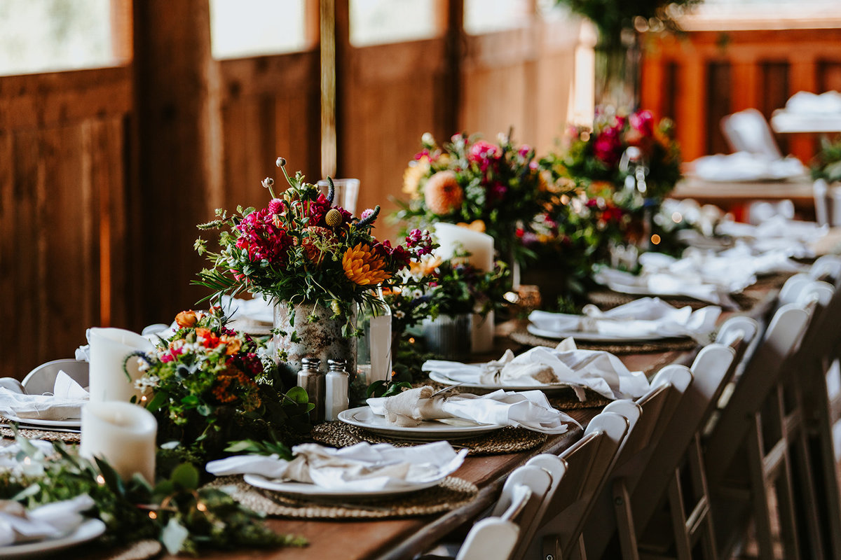 table decor in the reception area at Piney River Ranch in Vail, CO