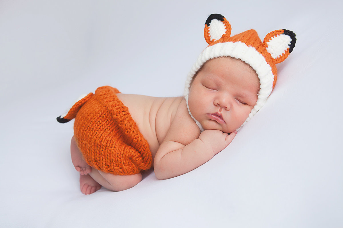 newborn baby in a fox outfit-1