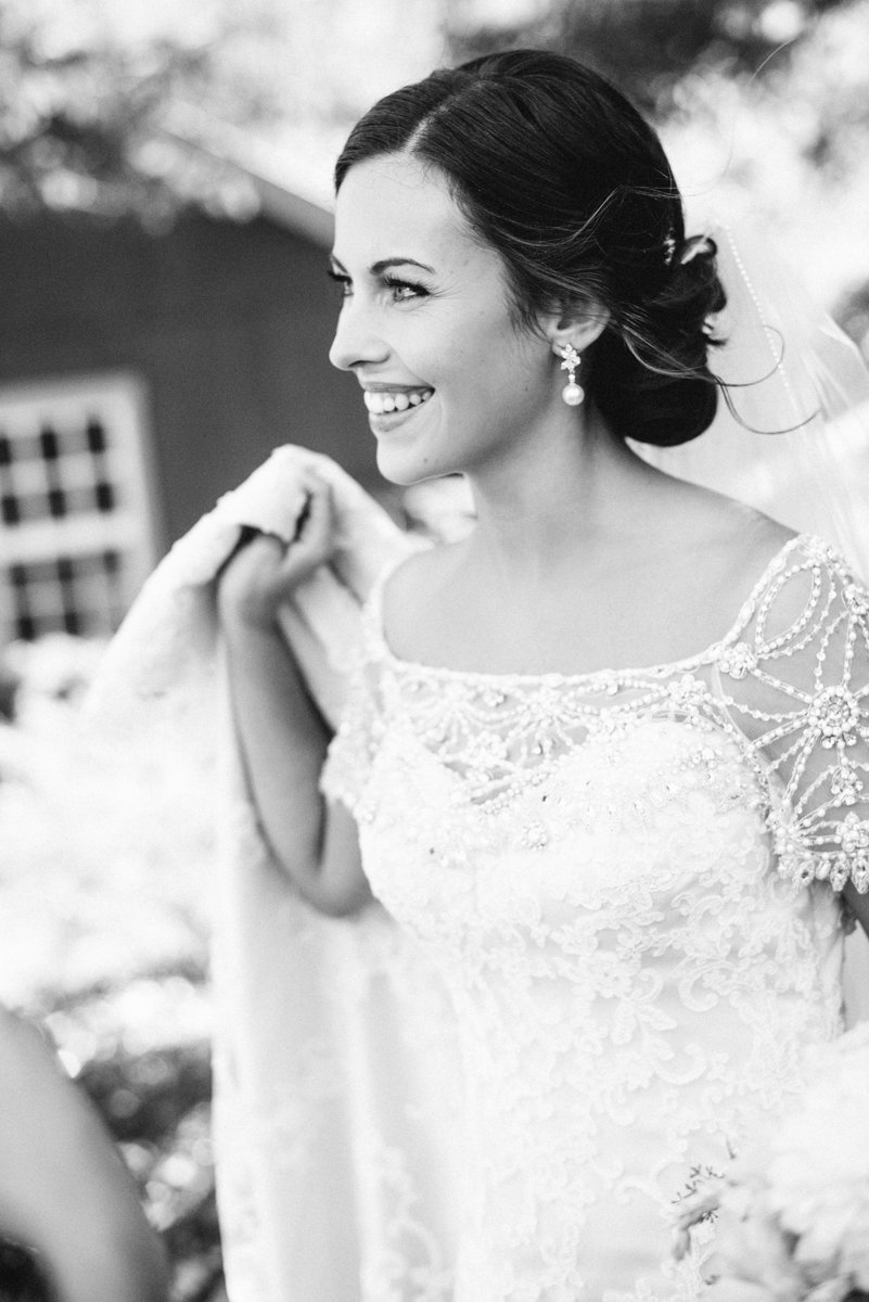 black and white photo of happy bride