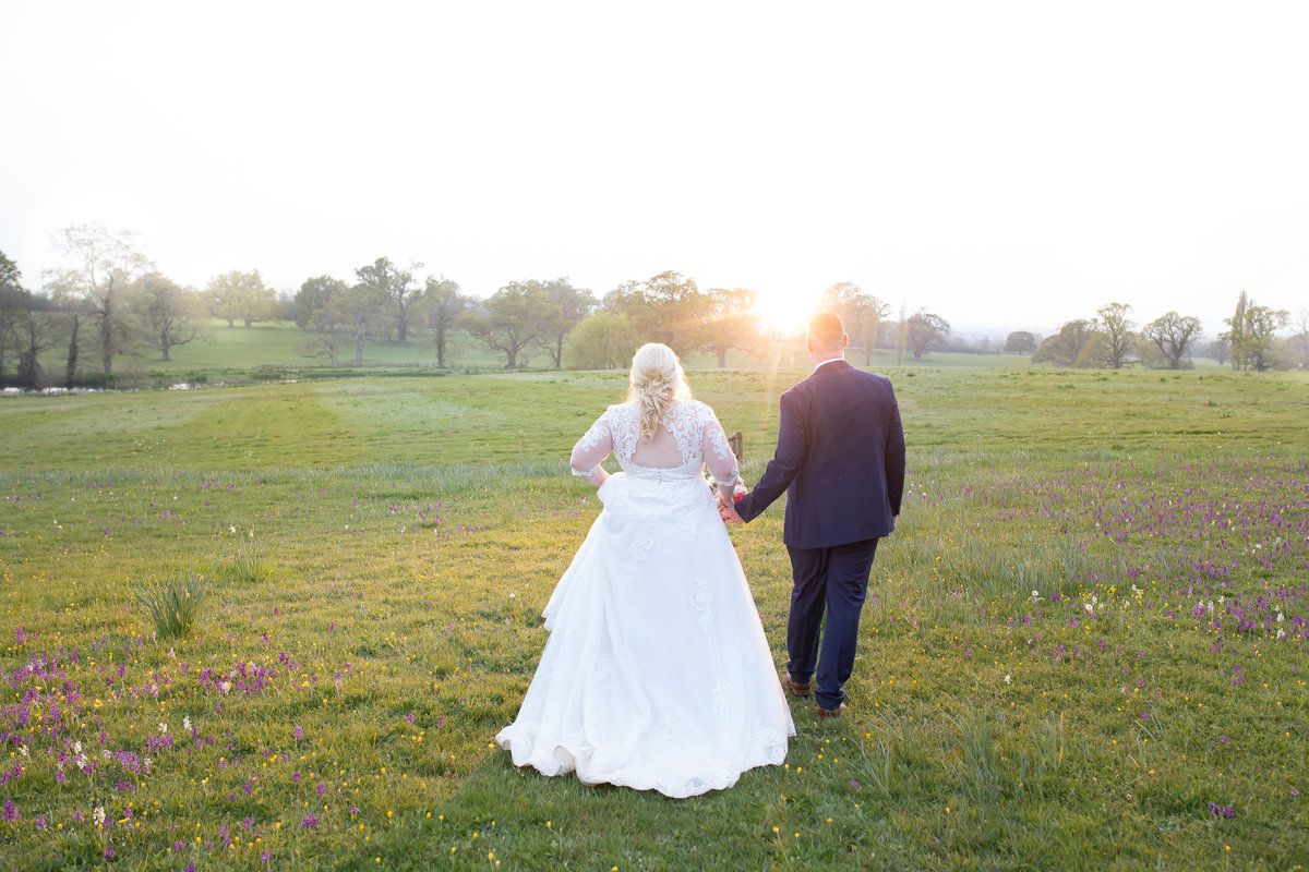 Bride and Groom at Sunset at Rockbeare Manor