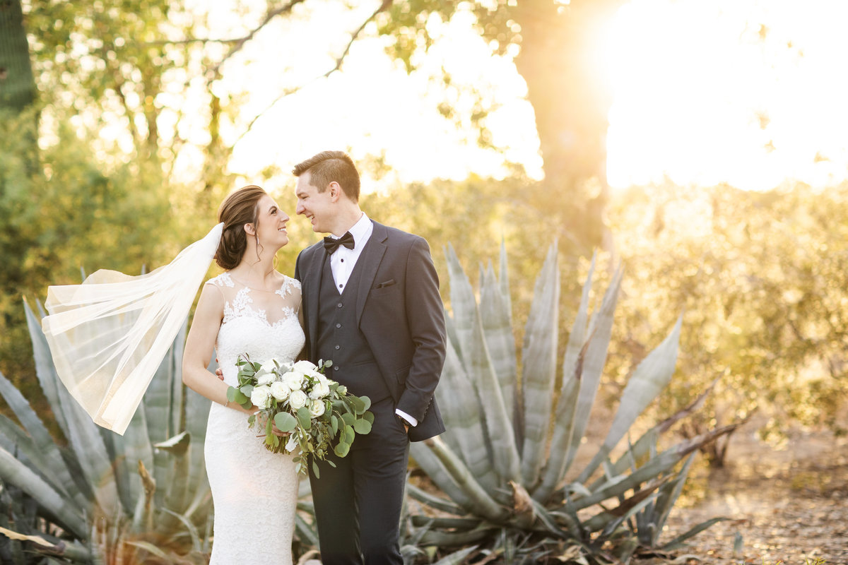 Wedding couple poses outside of the Posada Joshua Tree House in Tucson, AZ