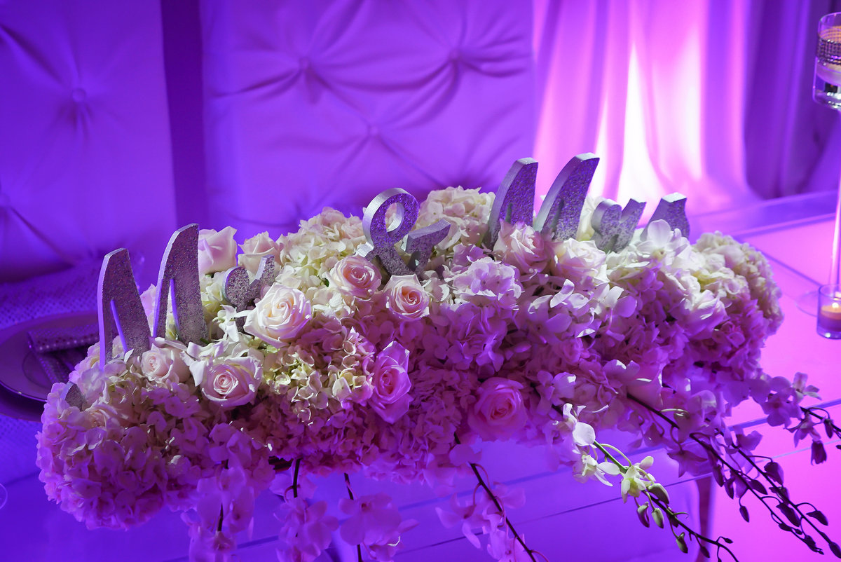 Casino wedding purple hydrangeas