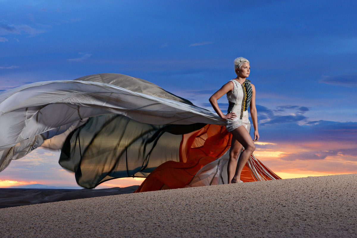 portrait with parachute dress in Yuma AZ
