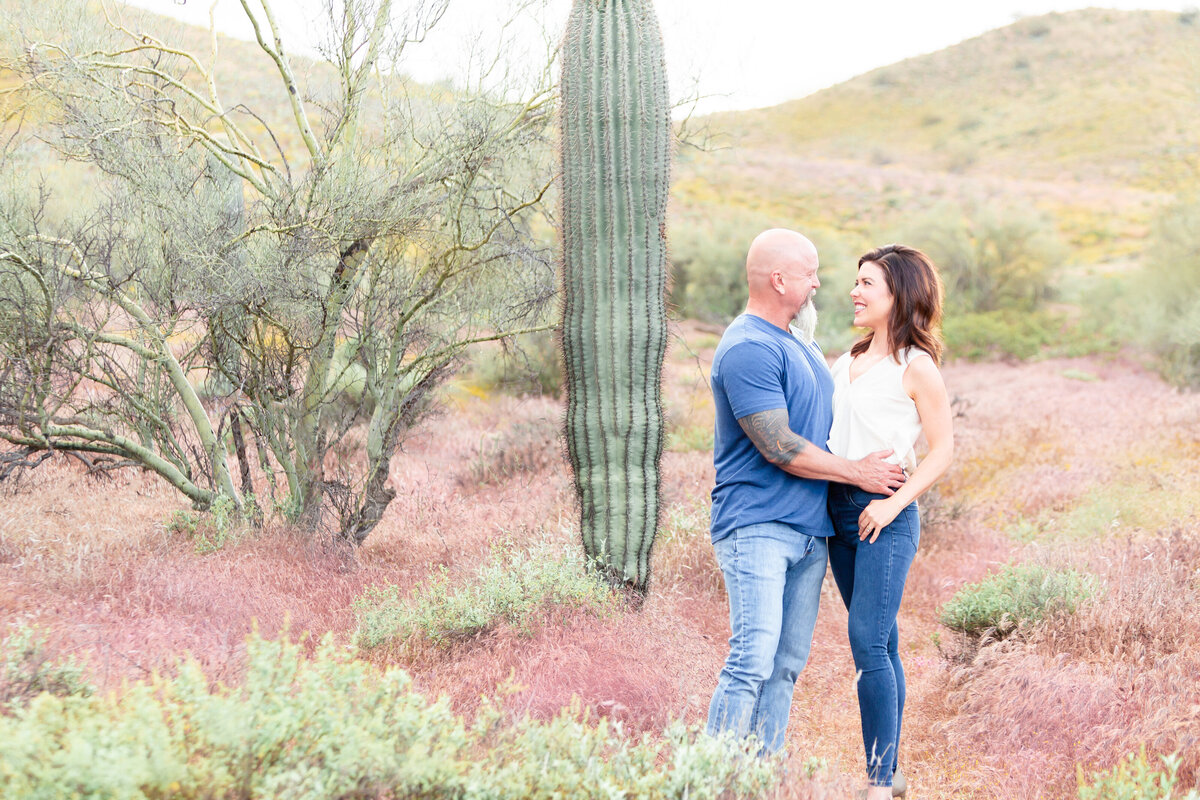 engaged couple in beautiful desert
