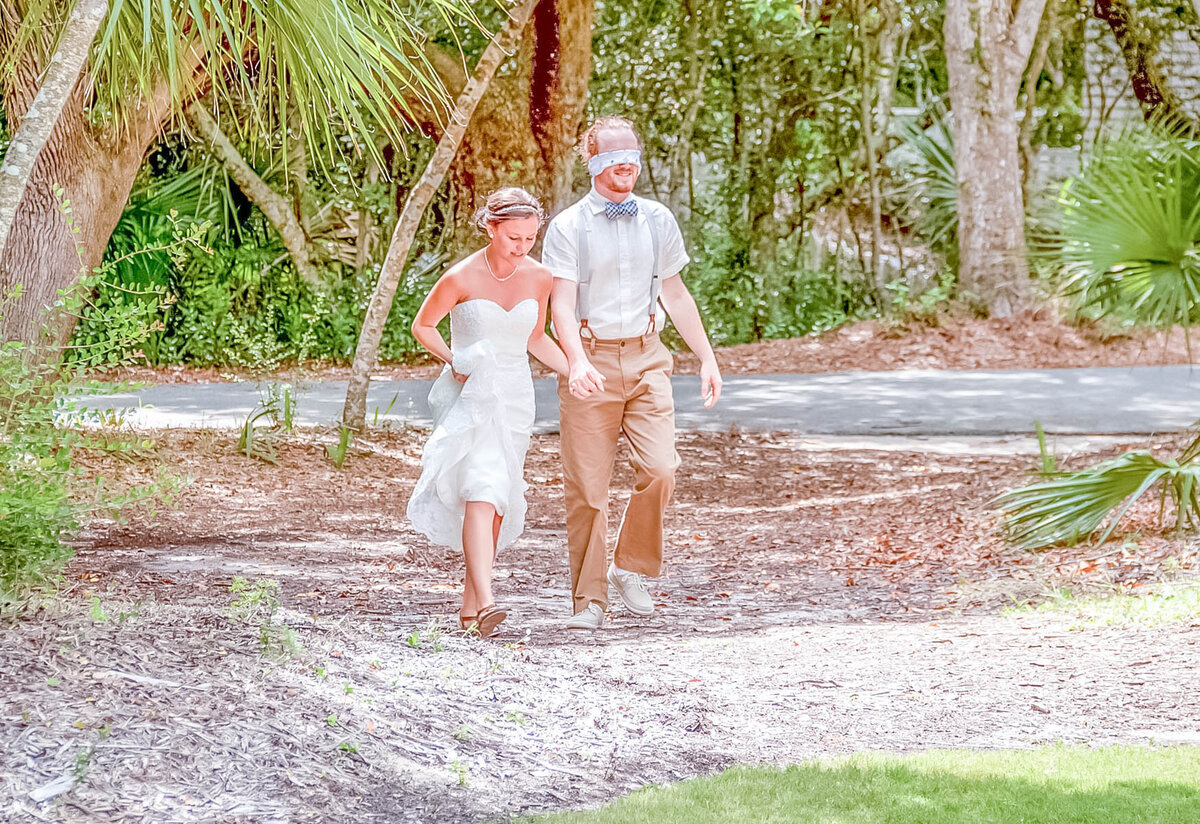 Bald Head Island Wedding Photography - Anna and Ray - Beach Walking - Wilmington Photographers Team