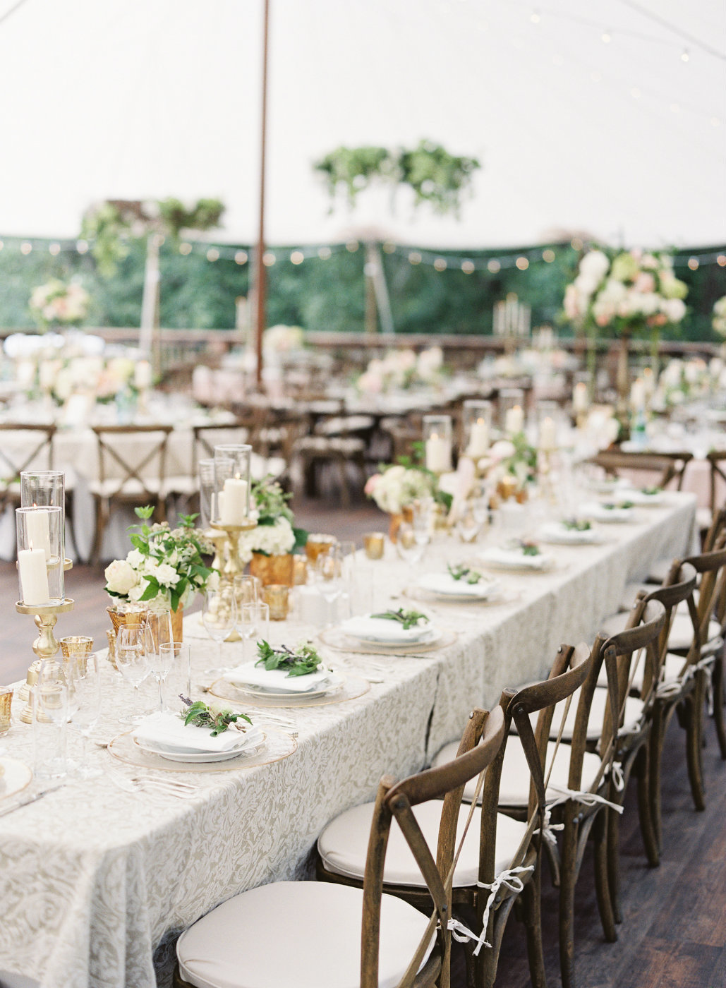 Gorgeous summer tent wedding with green vine hanging instillations.
