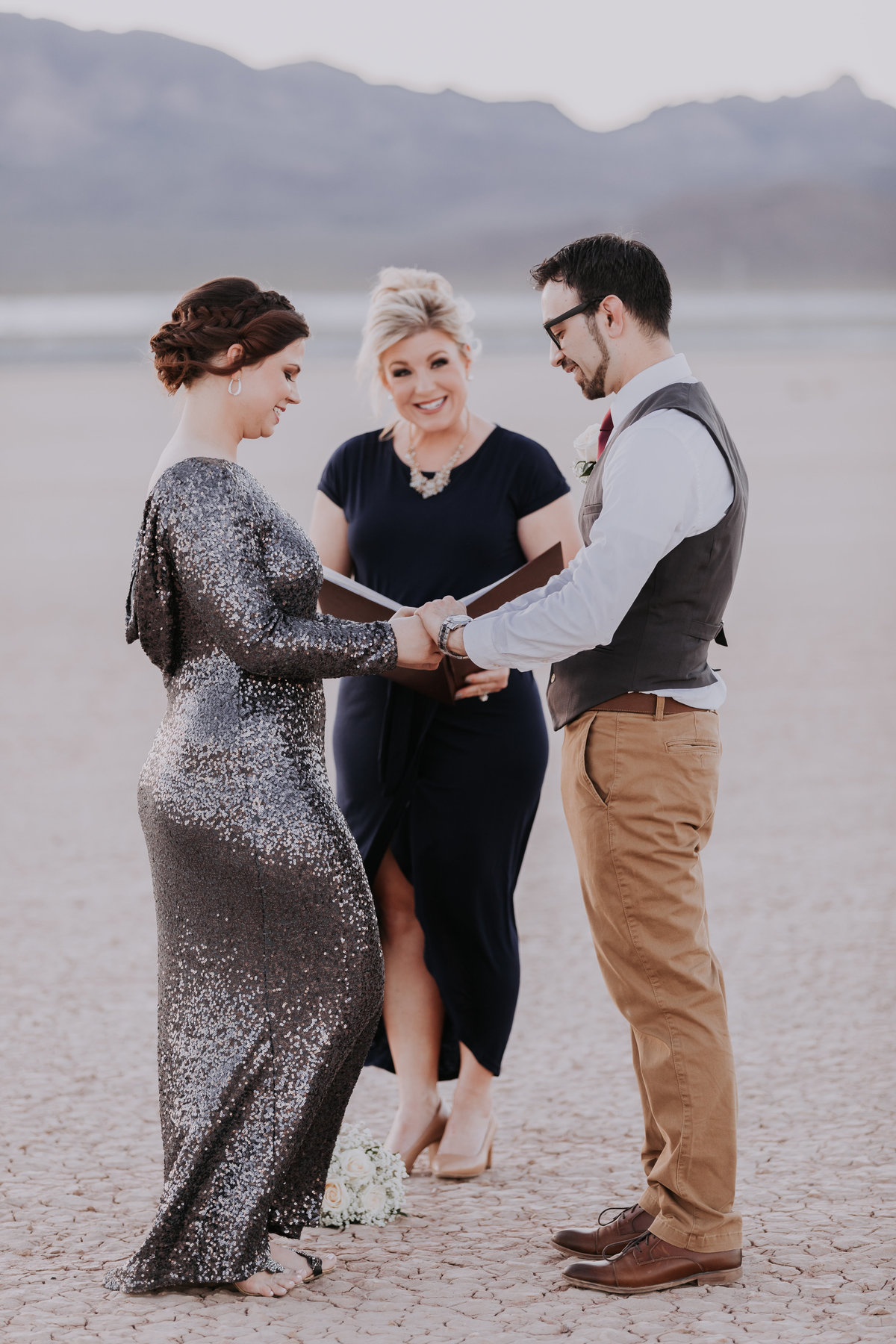 Lake Tahoe elopement pictures couple weds in desert