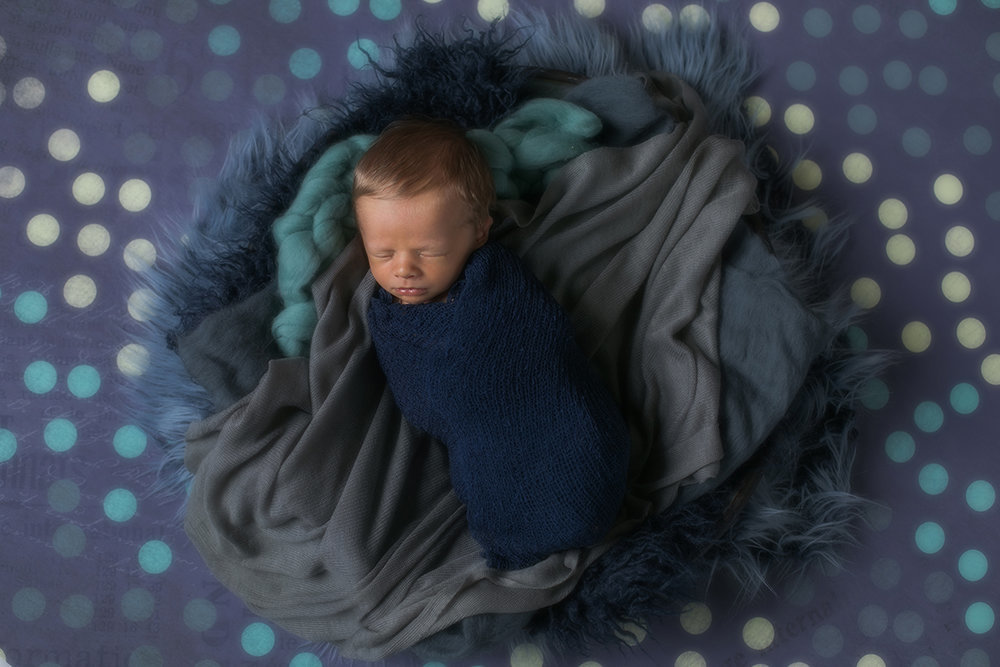 baby boy newborn photos in basket