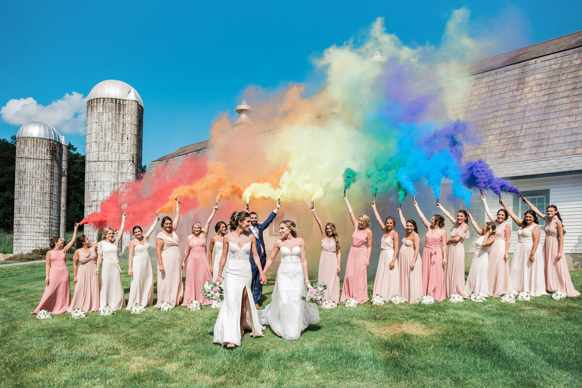 Rainbow Kleinfeld Brides with smoke bombs