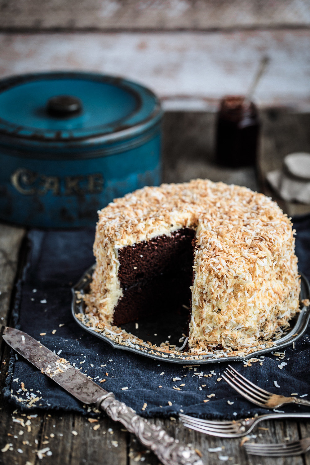 Chocolate Layer Cake with White Chocolate Buttercream and Toasted Coconut | Anisa Sabet | The Macadames-2-2