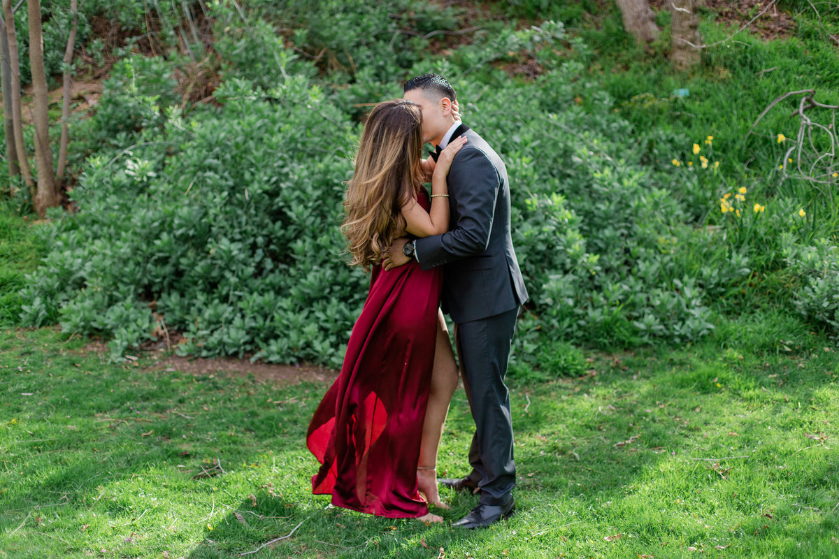 UC Riverside Botanical Gardens, Engagement Photography, Riverside Phototgrapher, Garden Engagement, Couple Photography, Red Dress-19