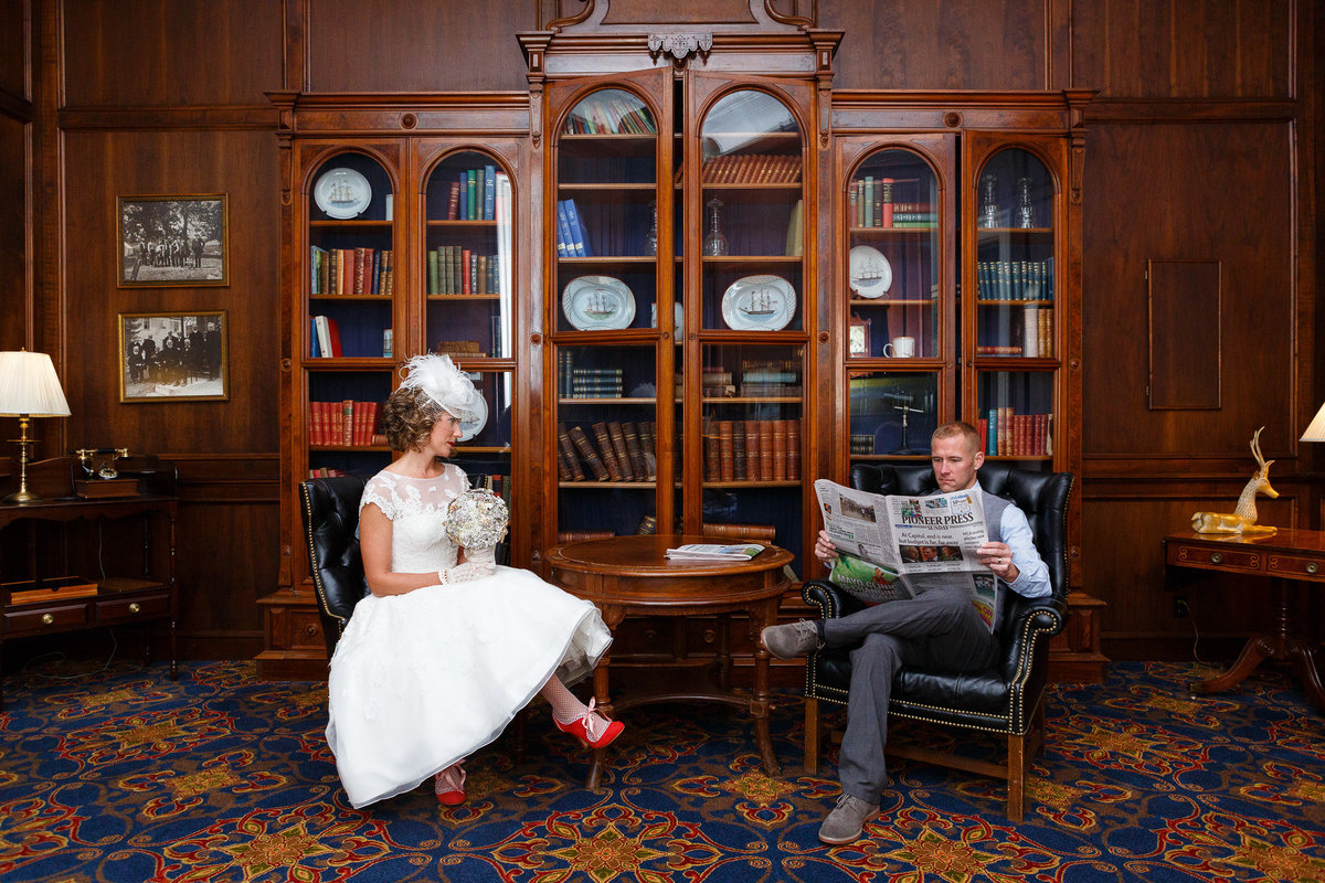 St James Hotel in Red Wing Minnesota has a historic lobby with a beautiful lobby area perfect for wedding photography