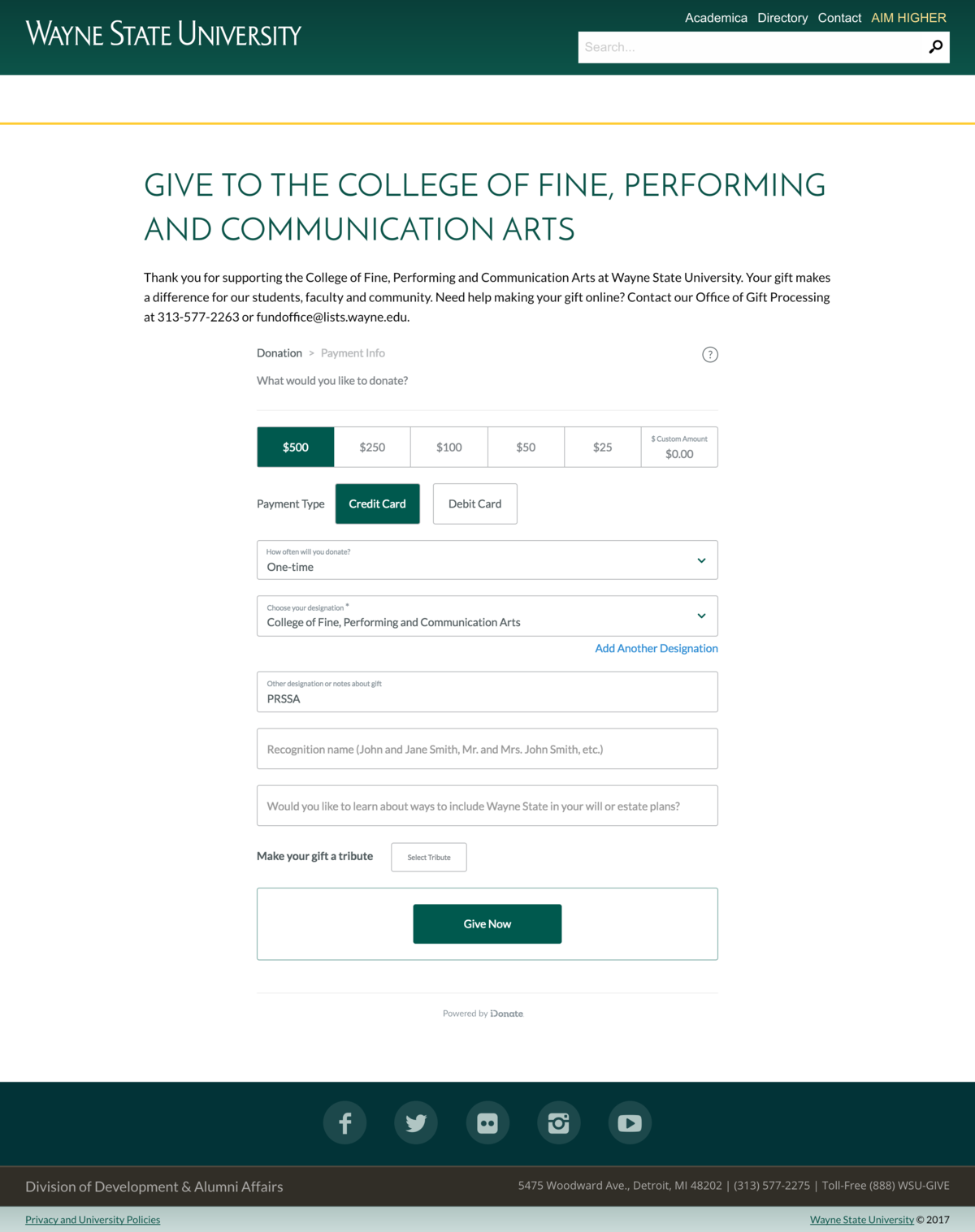 PRSSA website - Give to the College of Fine, Performi_ - https___giving.wayne.edu_donate_cfpca