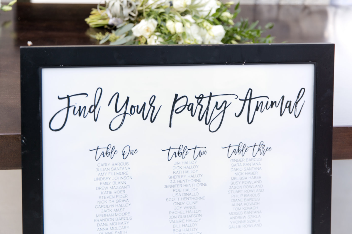 Find Your Seat Wedding Chart