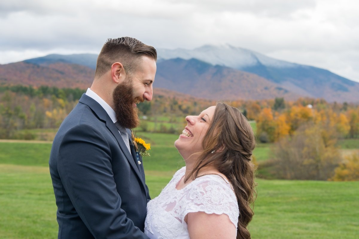 Vermont fall wedding with epic mountain views on private property