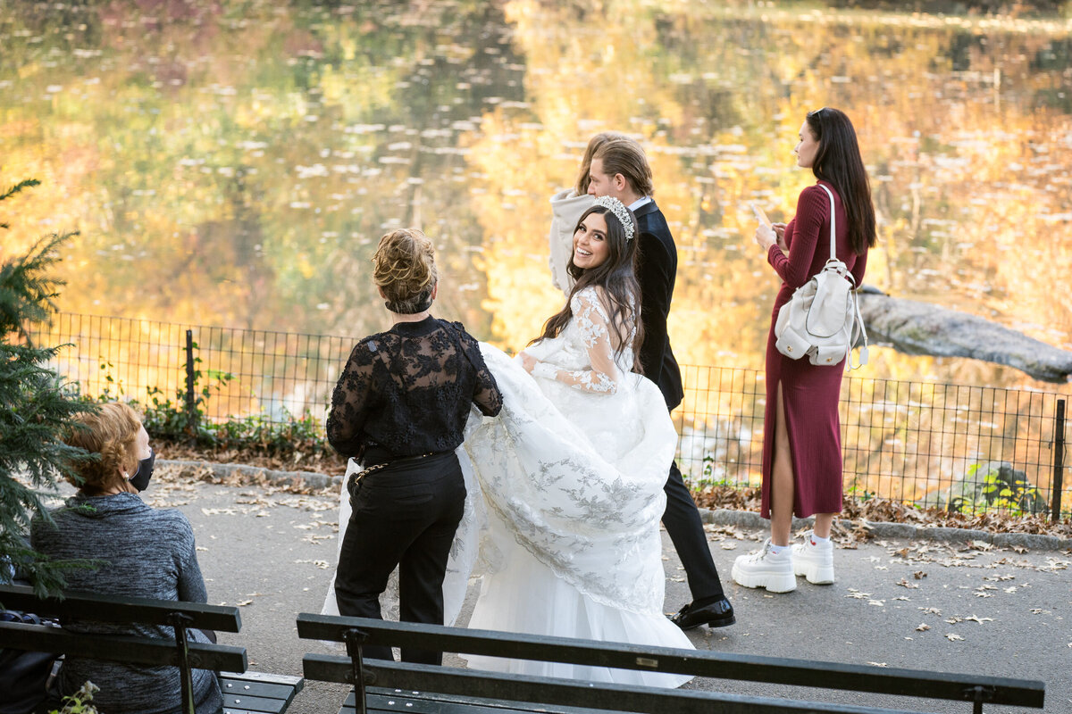 bride and groom at central park
