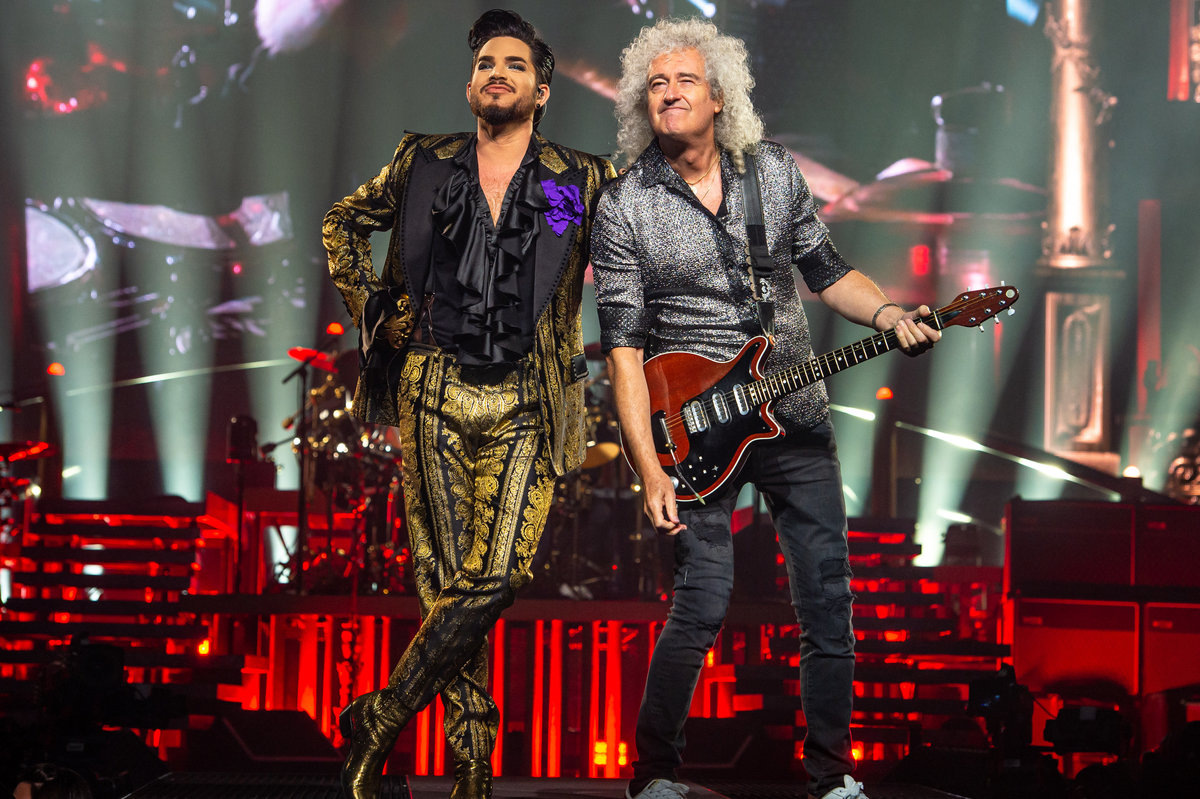 Brian May and Adam Lambert at Xcel Energy Center on stage