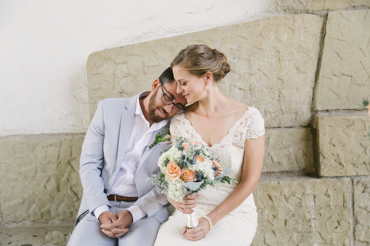 Groom and Bride enjoy a moment after Santa Barbara Courthouse Wedding