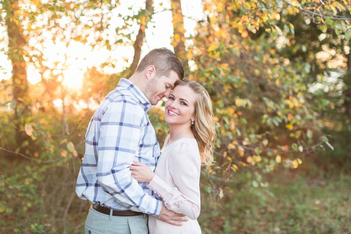 glowy light for fall engagement session at first landing state park