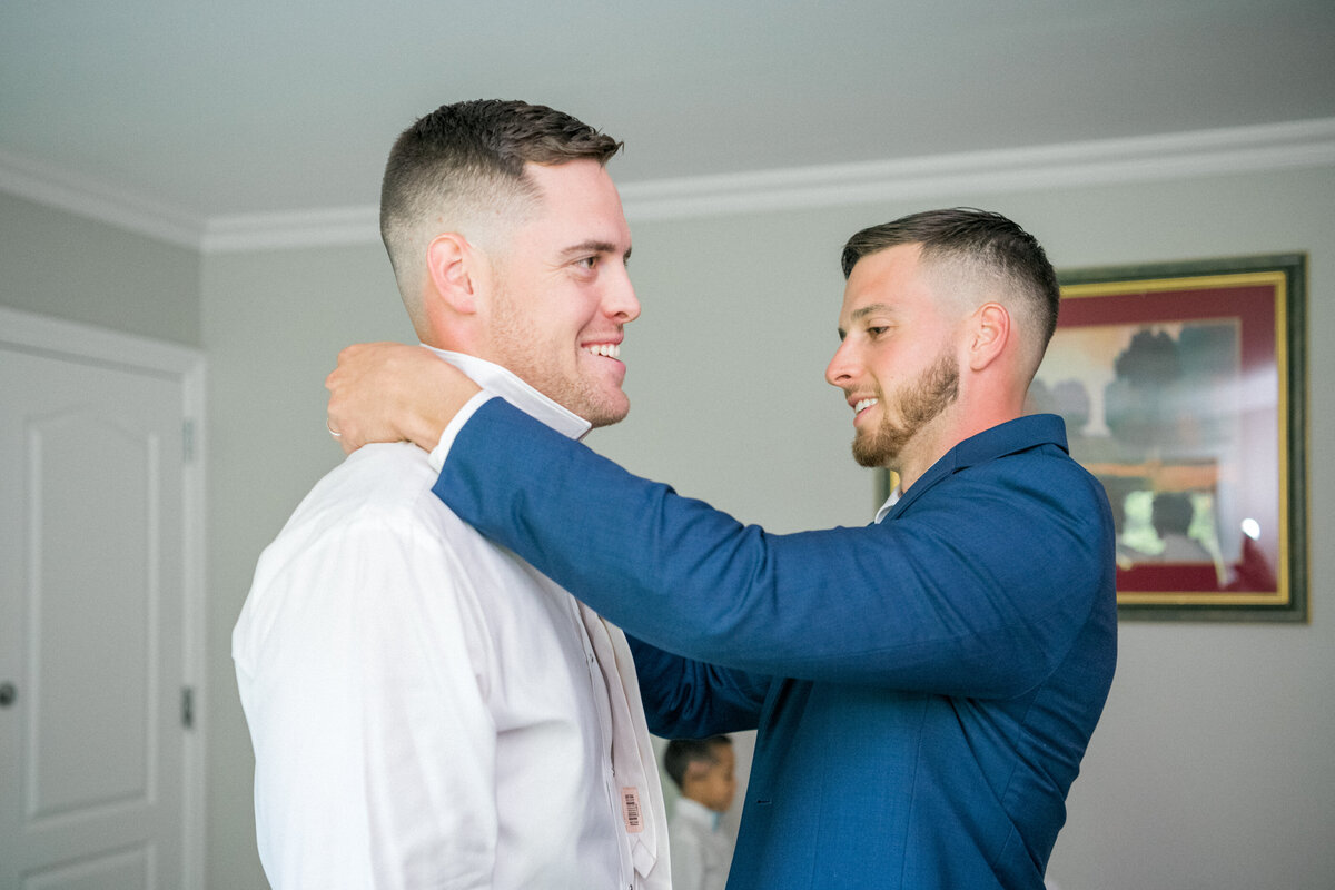 Best Man and Groom getting ready
