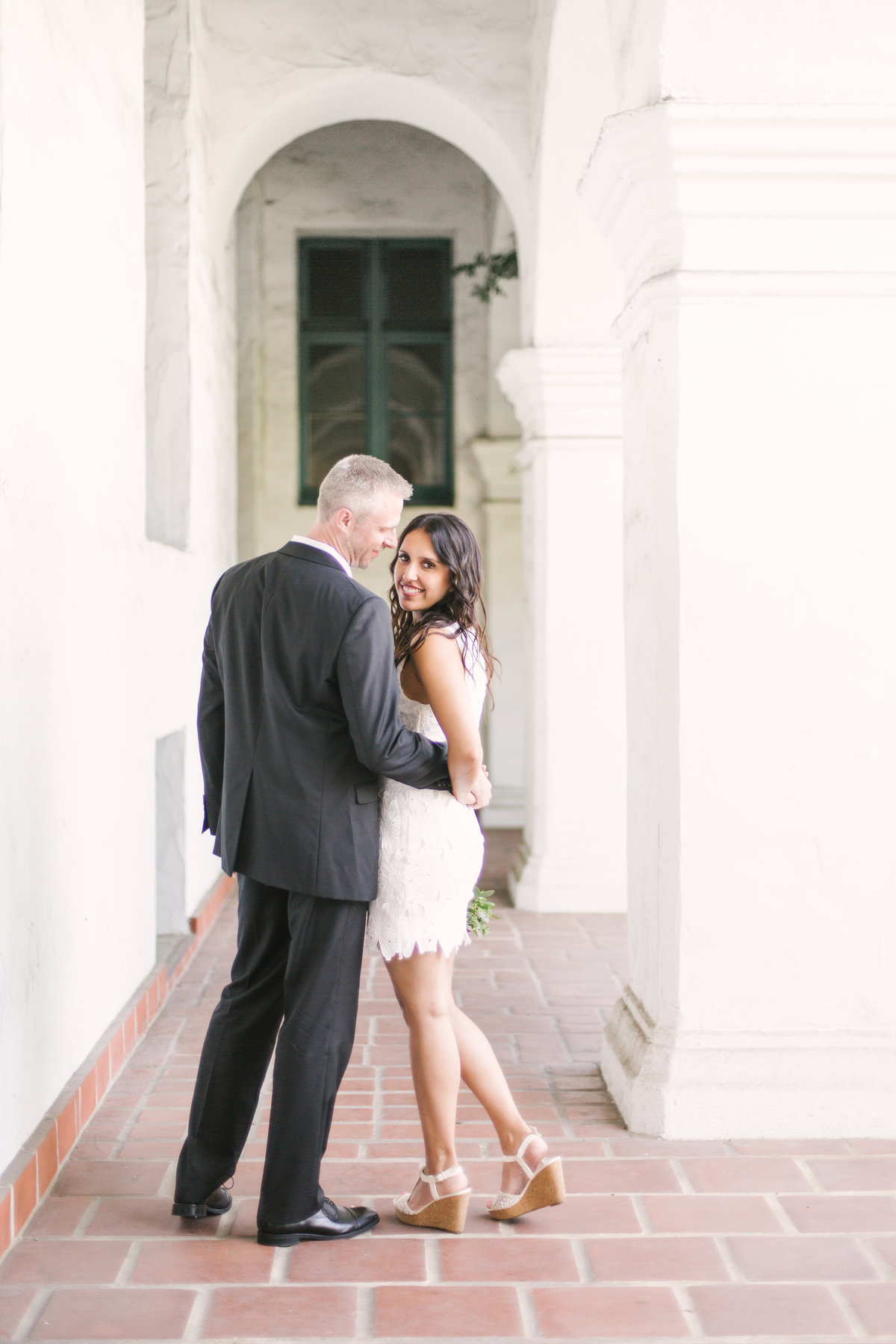 Bride and groom at Santa Barbara Courthouse Wedding