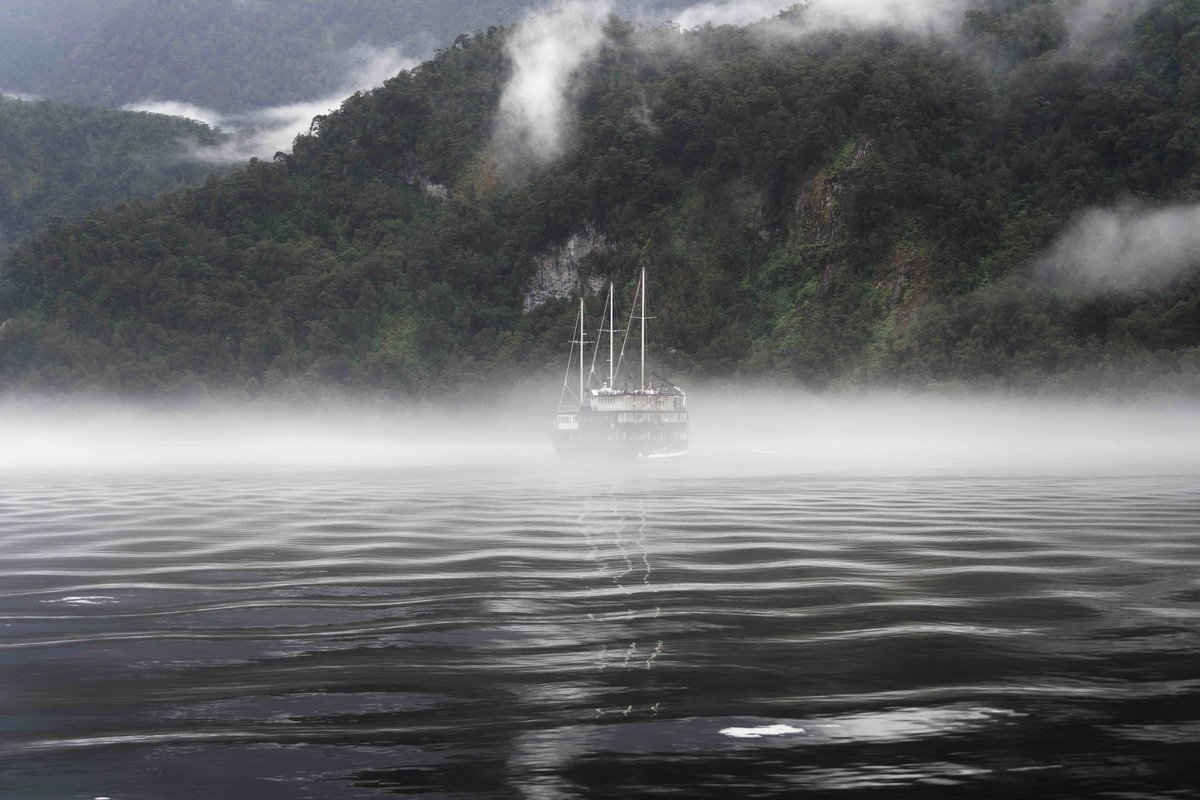 evening mist rolls into Fiordland, Doubtful Sound, New Zealand