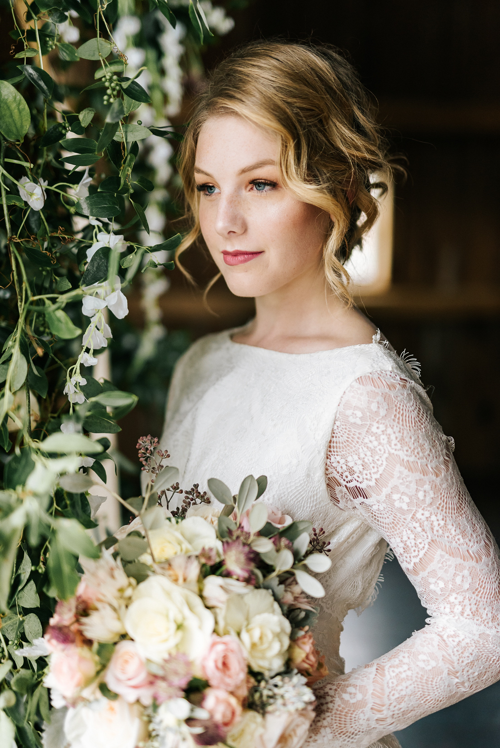 Lush Greenery Wedding Inspired Styled Shoot at Cornman Farms Bridal Portrait