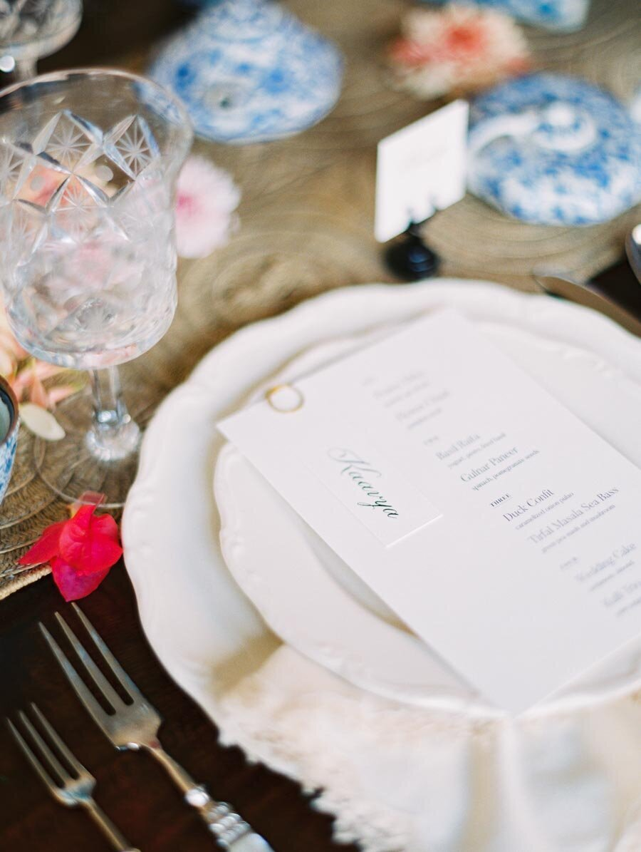 Modern Wedding Menu Crystal Wine Glasses Fine Art Film Photographer Bonnie Sen Photography