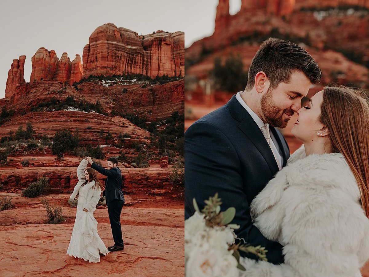 Grooms twirls the bride who is wearing a white fur coat over her wedding dress in Sedona