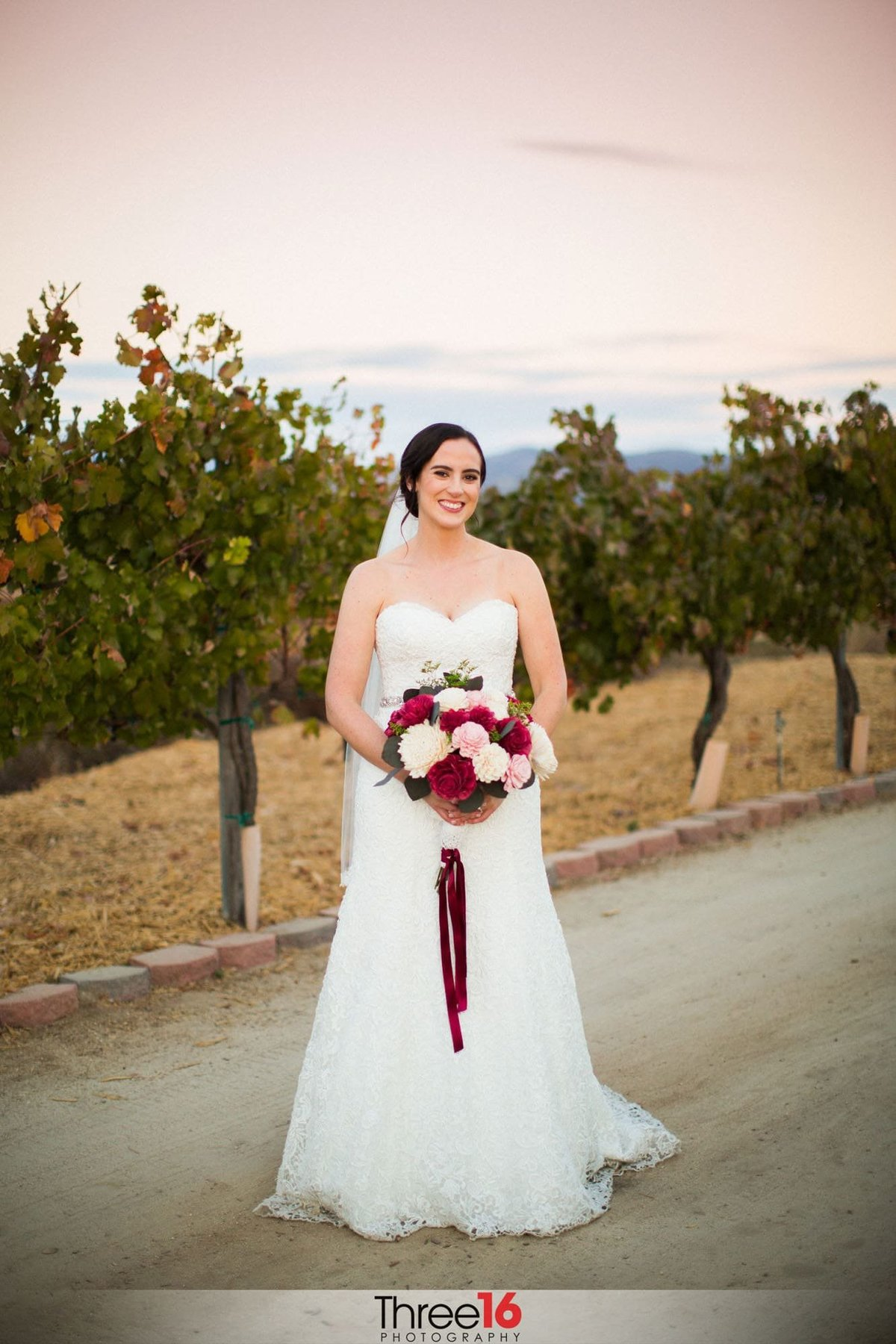 Bride posing at the Mount Palomar Winery Wedding Venue