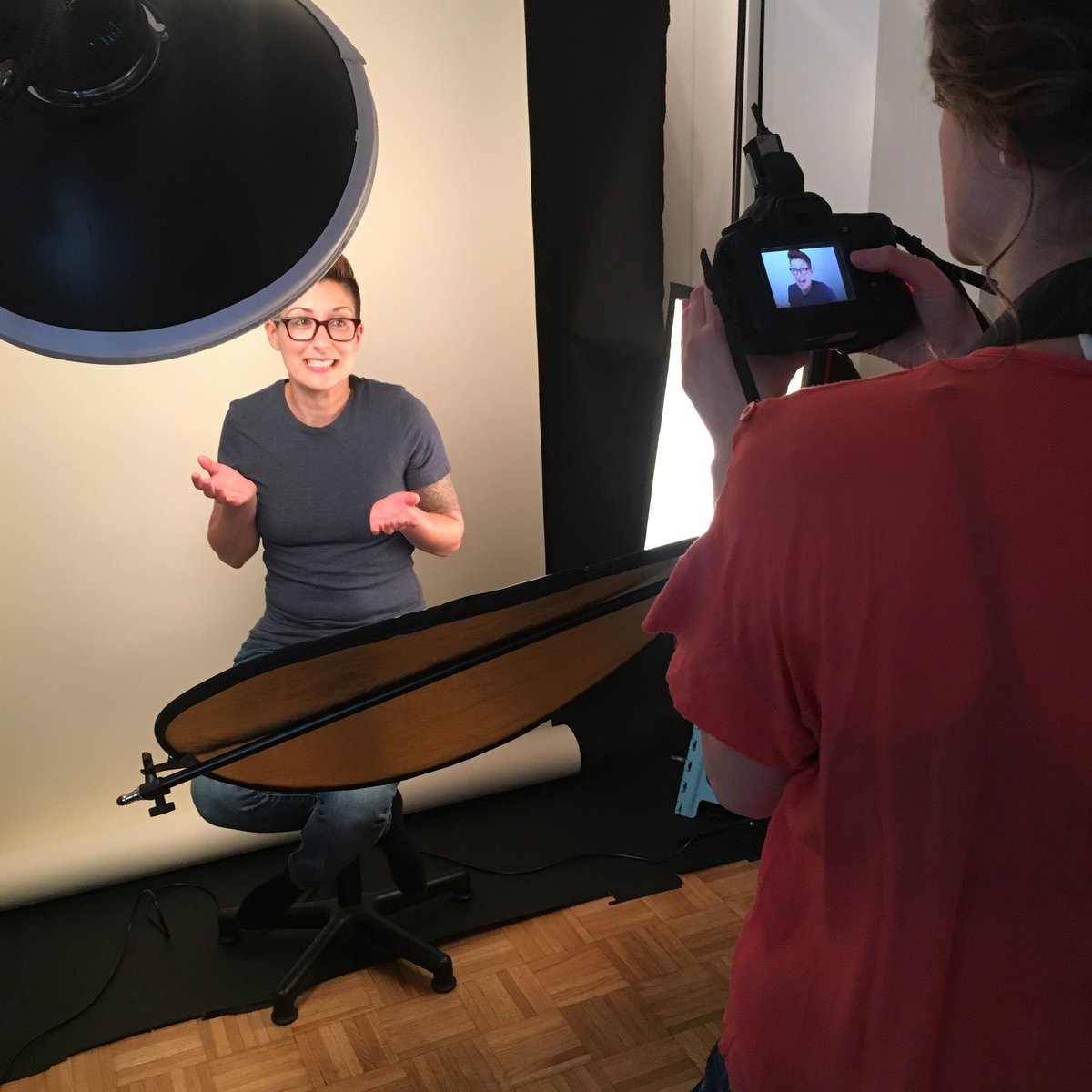 Laura Volpacchio photographing a branding session in NYC