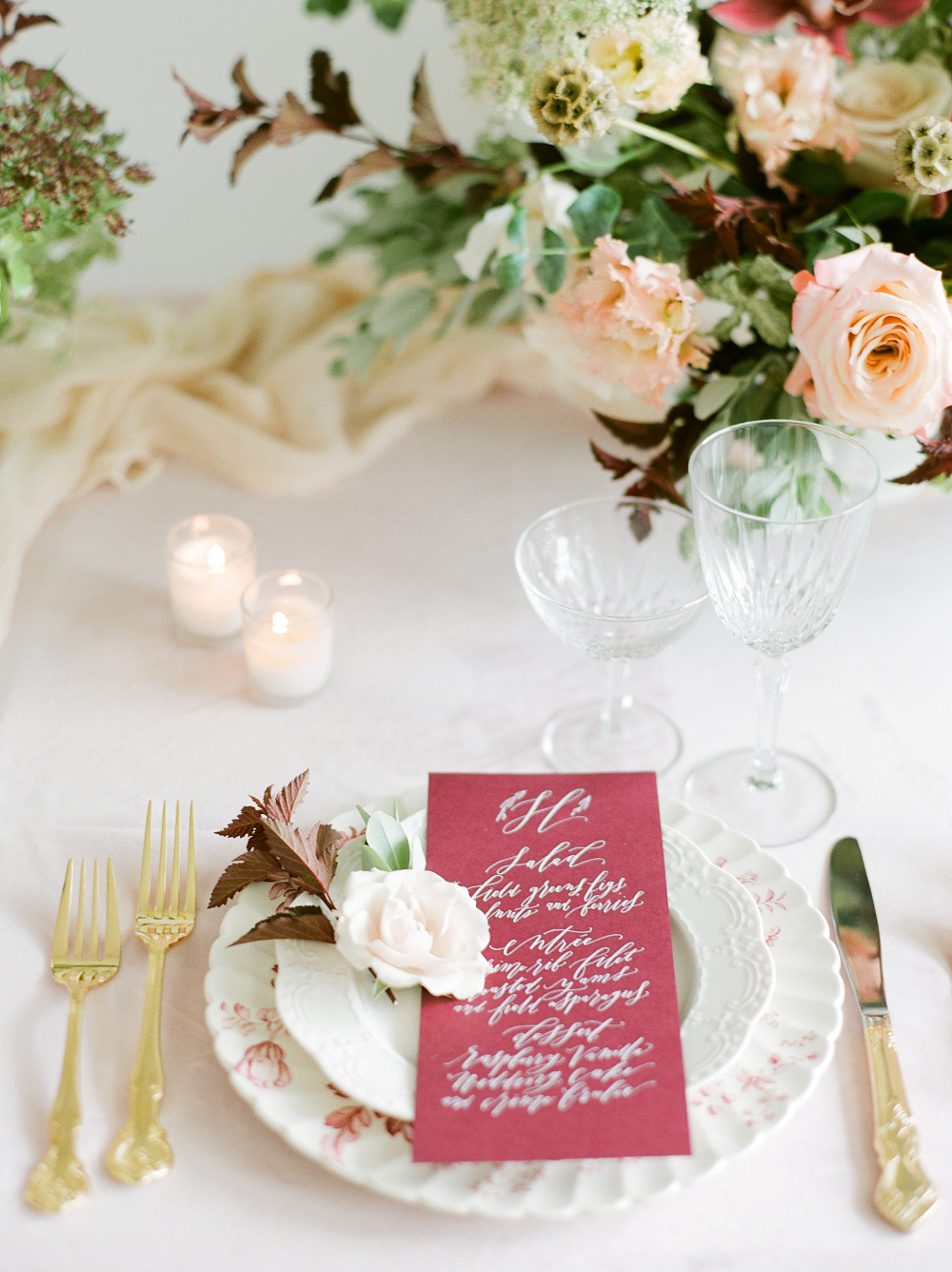 Burgundy and Blush Wedding Inspiration Styled Shoot Vintage Chargers