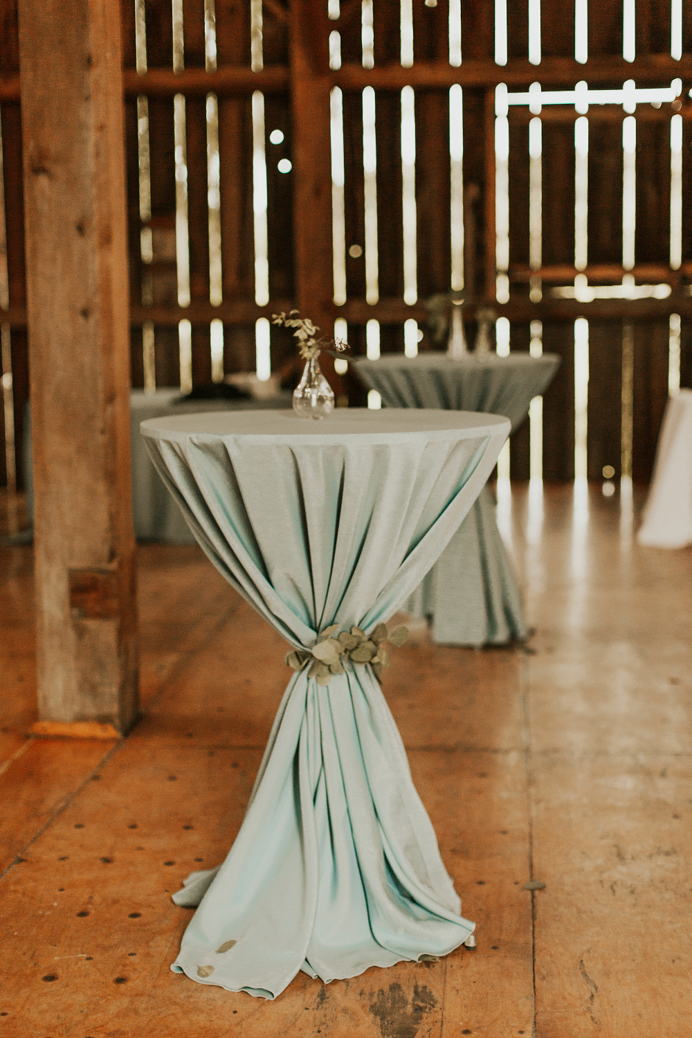 Rustic Farm Wedding Cocktail Tables