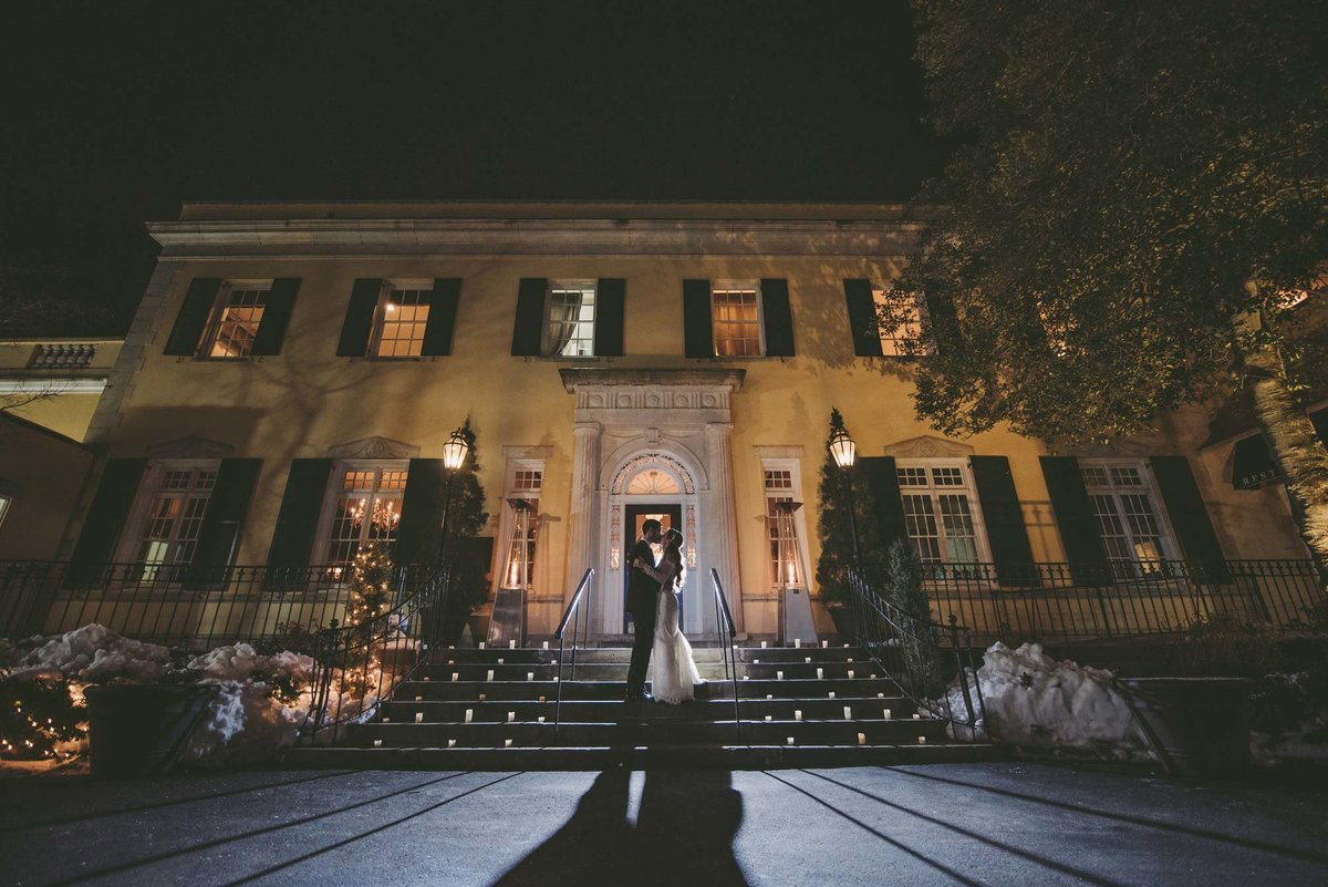 The Mansion at Oyster Bay night wedding photo of bride and groom