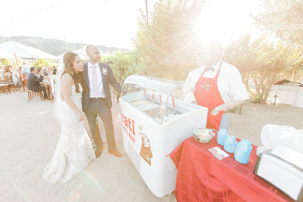 Sunset Napa Wedding Reception Fratti Gelato